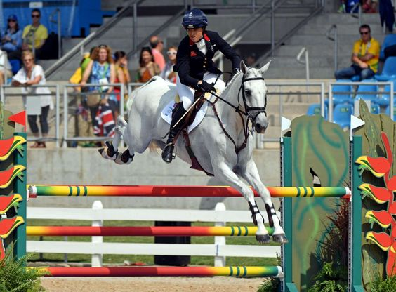 Pippa Funnell of Great Britain rides Billy the Biz during equestrian eventing jumping in the Rio 2016 Summer Olympic Games at Olympic Equestrian Centre.