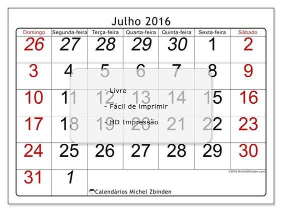 """Calendário """"Oseus (D)"""" julho 2016 para imprimir"""