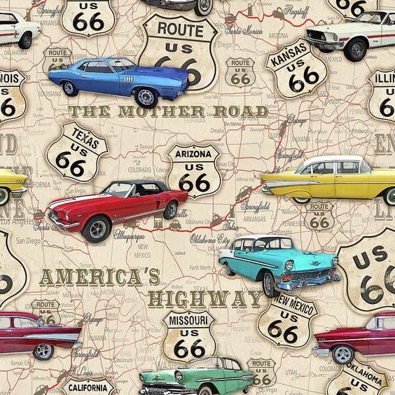 Route 66 Muscle Car Map-jp3961 Digital Art by Jean Plout