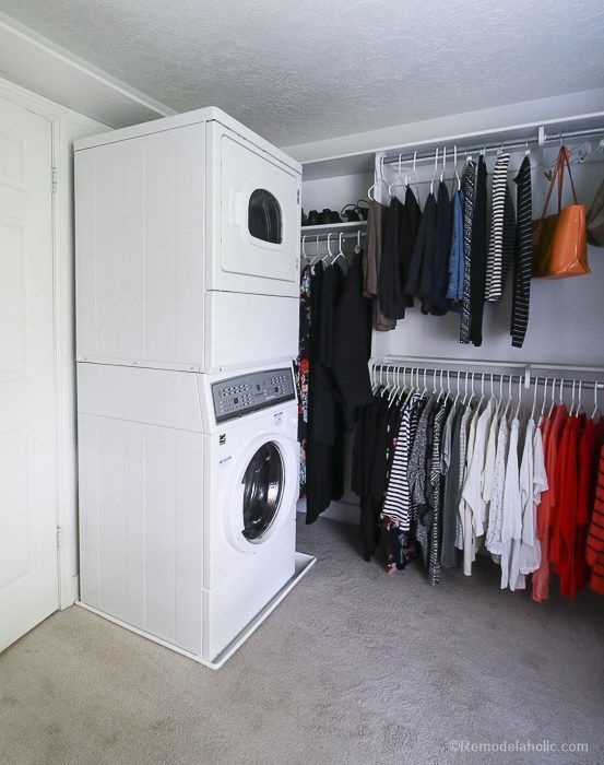 Adding A Stacked Washer And Dryer In A Walk In Closet Laundryrooms Closet Diyproject Remodelahol In 2020 Washer And Dryer Laundry Closet Stackable Washer And Dryer