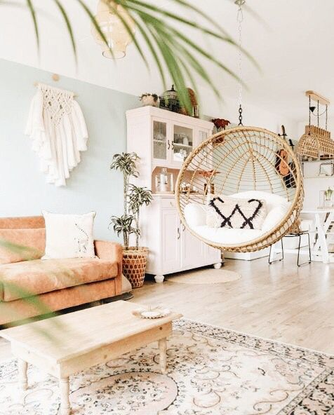 Hanging Chair In Living Room Light And Bright Living Room Inspiration Boho Living Room Decor Macrame Cosy Living Room Home Living Room Living Room Decor