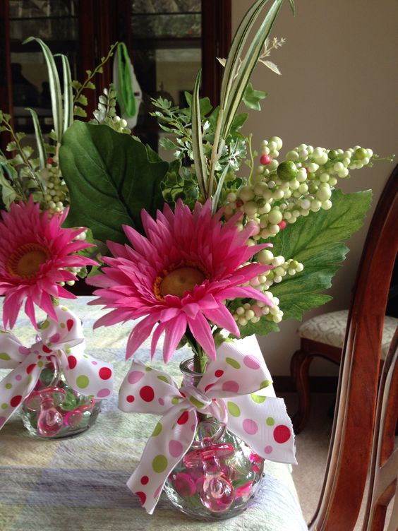 Pink and green baby shower centerpieces easy to make