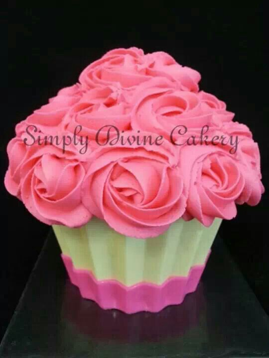 Medium sized giant cupcake with buttercream icing & chocolate shell