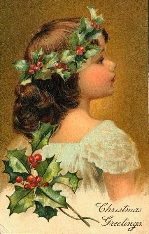 beautiful vintage christmas postcard