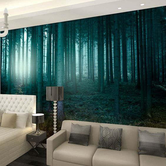 Berk bos onder zomer zonlicht papel de parede 3d photo behang voor muren 3 d prints muur papier muurschilderingen decor voor muur