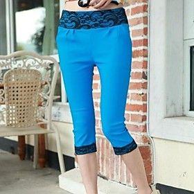 Women's Summer Fashionable Lace Floral Print Hem Cropped Leggings
