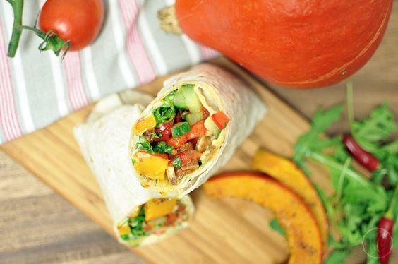 Gesunde Jause: Kürbis-Wrap mit Hummus - Kathie's Cloud