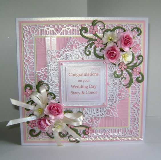 Wedding Day Card - this one using dies from Creative Expressions / Sue Wilson New York Madison Square, Times Square and Embossing Folder Scored Lines, Tonic Layering Squares and Spellbinders Grand Squares and Venetian Motifs. White Centura Pearl Card from Crafters Companion, Pink and Cream Card from Papermilldirect. Flowers from Wild Orchid Crafts.