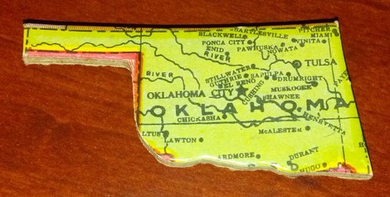 Vintage Puzzle Piece State of Oklahoma by amodernvintagehome, $3.25