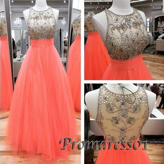Cute see-through sequins top pink tulle long prom dress for teens, homecoming dress 2016 #coniefox