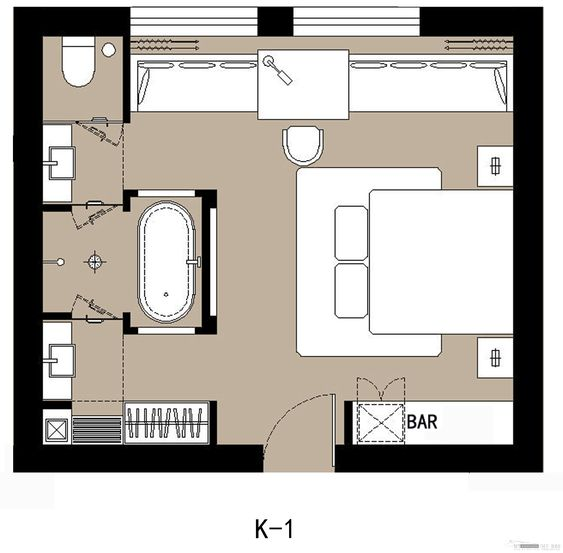 Beach suite amour where bar is kitchenette at front right interior hotel room pinterest Master bedroom plan dwg