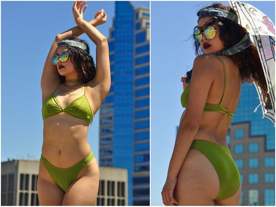 90's Green Bikini with High Cut Bottoms and by ThreadedVibes