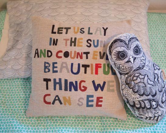 Lovely, whimsical pillow for the kids room!