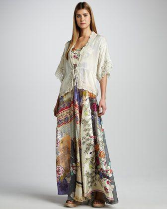 Lace-Trim Tie Jacket &amp- Mixed-Print Silk Maxi Dress- Women-&-39-s by ...