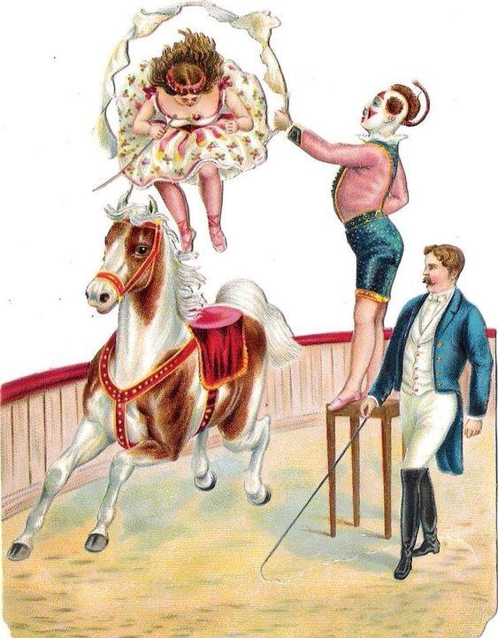 Oblaten Glanzbild scrap die cut chromo Zirkus circus Pferd horse Clown Manege