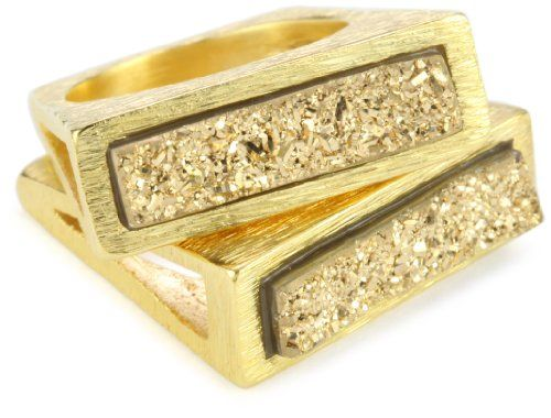 Marcia Moran Gold Druzy Stone Rectangle Duo 18k Gold-Plated