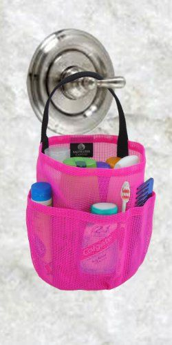 TOPSELLER! Dorm Shower Caddy - Hot Pink & Black Straps - by Saltwater Canvas $16.97