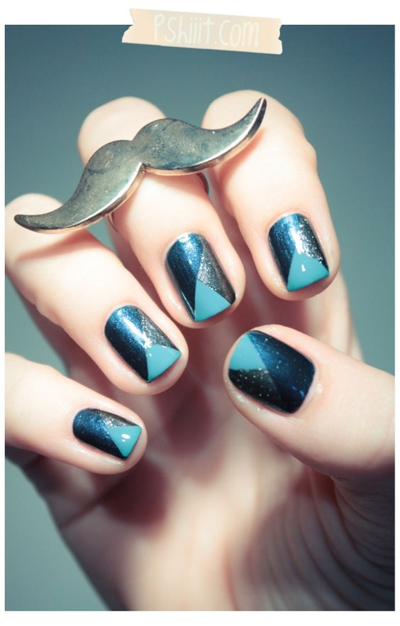 Blues & Metallic nails