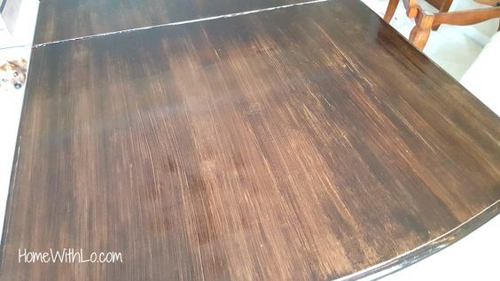 How I Refinished A Wood Veneer Table Top To Make It Look Like