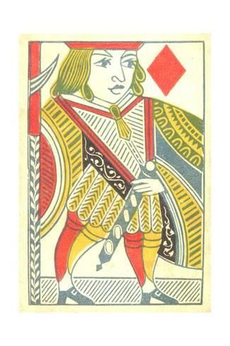 Art Print: Jack of Diamonds Playing Card : 24x16in