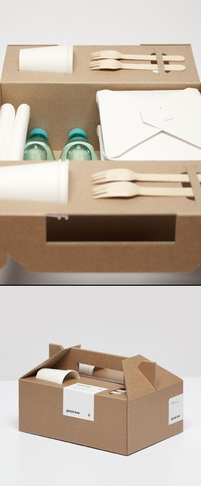 Industrial design, packaging, lunch box, Very nice recycled paper picnic box. Kit Lanche