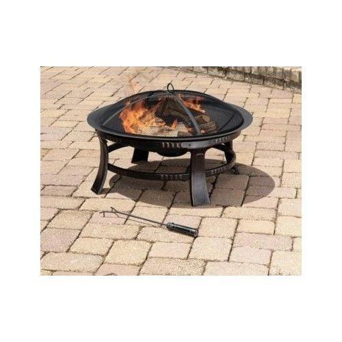 Patio Fire Pit Round Fireplace Deck Yard Garden Wood Burner  #PleasantHearth #patiofirepit