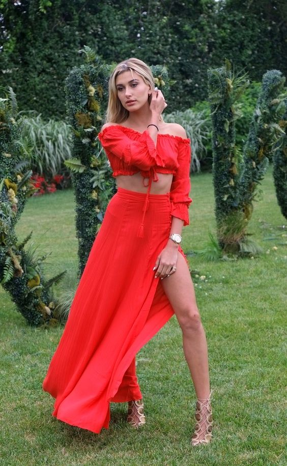 An off the shoulder two piece? Hailey Baldwin combining two major summer trends in one outfit.: