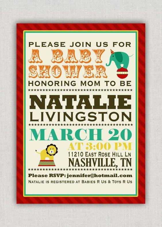 Circus Baby Shower Invitation. $15.00, via Etsy.