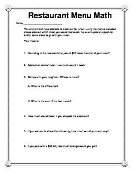 math worksheet : restaurant menu math is an activity that has students working  : Menu Math Worksheet