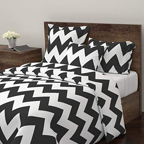 Roostery Chevron Duvet Cover Zigzags Misstiina Black Black And White By Misstiina 100 Cotton Queen Duvet Chevron Duvet Covers Chevron Duvet Duvet Covers Twin