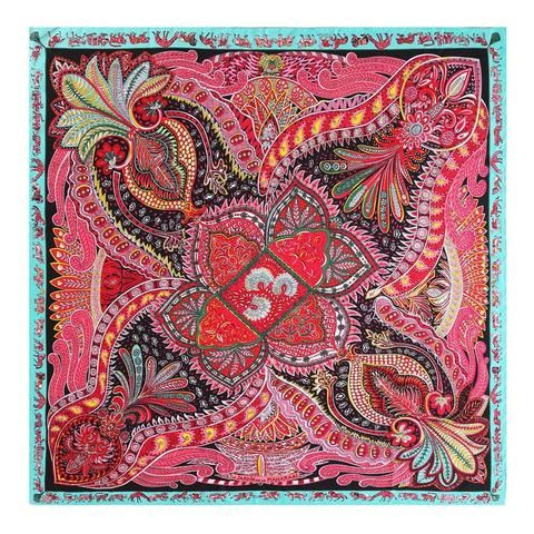 Women Square Scarf Vintage Floral Print Faux Twill Silk Large Shawl Wraps 130cm
