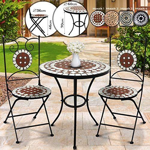 Salon De Jardin Mosaique Table Ronde O H 60x70cm Et 2 Chaises