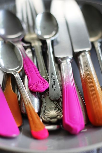 spray painted flatware...do this with disposable utensils