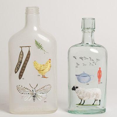 painted bottles: Bottles Idea, Inspiration Bottles, Bottles Jars, Creative Idea, Glass Bottles, Handpainted Bottles