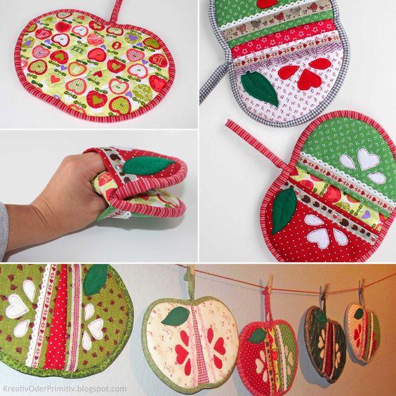 Apfel-Topflappen Nähen selber machen sewing tutorial www.kreativoderprimitiv.blogspot.com