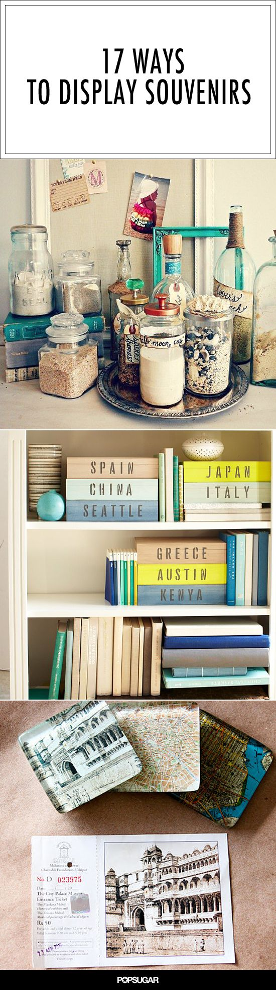 17 Ideas to Organize and Display Travel Mementos With Style (do them for Atlantic Highlands, Cape Cod, Savannah, Seattle)