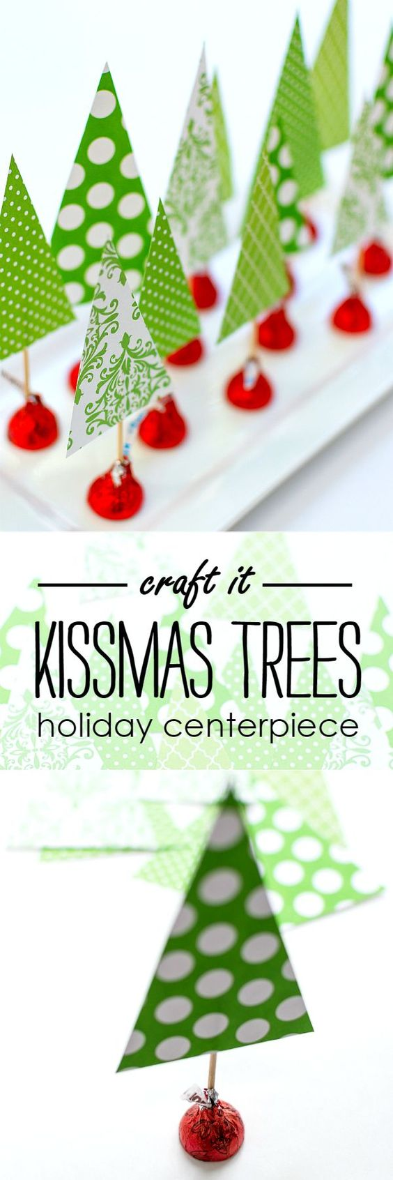 Kids Christmas DIY - get the kids to help you with these cute Christmas trees with a surprise - a Hershey's kiss!!