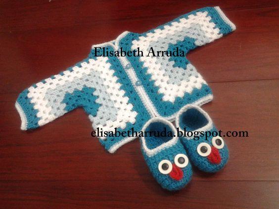 Conjunto para recém nascido : casaquinho hexágono e sapatinho coruja