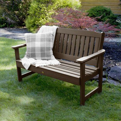 Three Posts Amelia Wood Garden Bench Size 35 H X 52 W X 25 D Color Weathered Acorn Plastic Garden Bench Garden Bench Outdoor Garden Bench