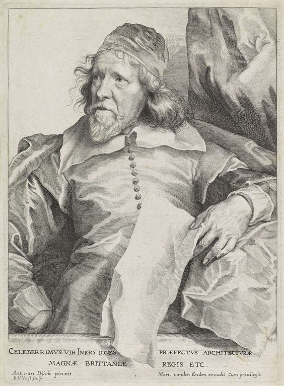 Robert van Voerst | Portret van Inigo Jones, Robert van Voerst, Martinus van den Enden, unknown, 1627 - 1636 | Portet van de Engelse architect Inigo Jones. In zijn hand een vel papier.