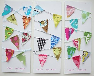 bunting birthday cards with faux letterpress