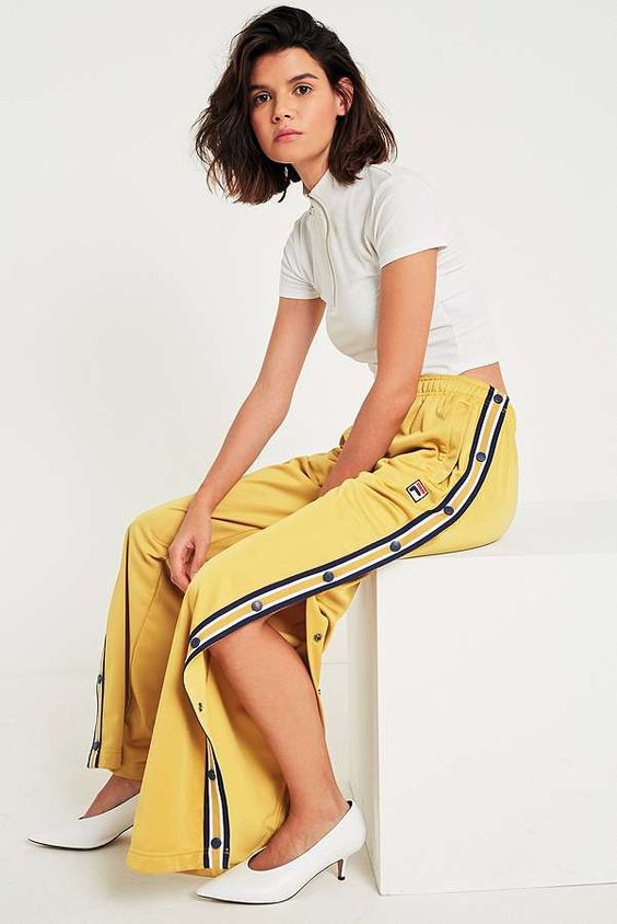 Slide View: 2: FILA Lauren Gold Popper Track Pants