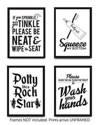 Set Of 4 Funny Bathroom Quotes Rules Unframed Best Modern Toilet Decor Words Fashion Home Garden Ho Bathroom Quotes Funny Bathroom Quotes Modern Toilet