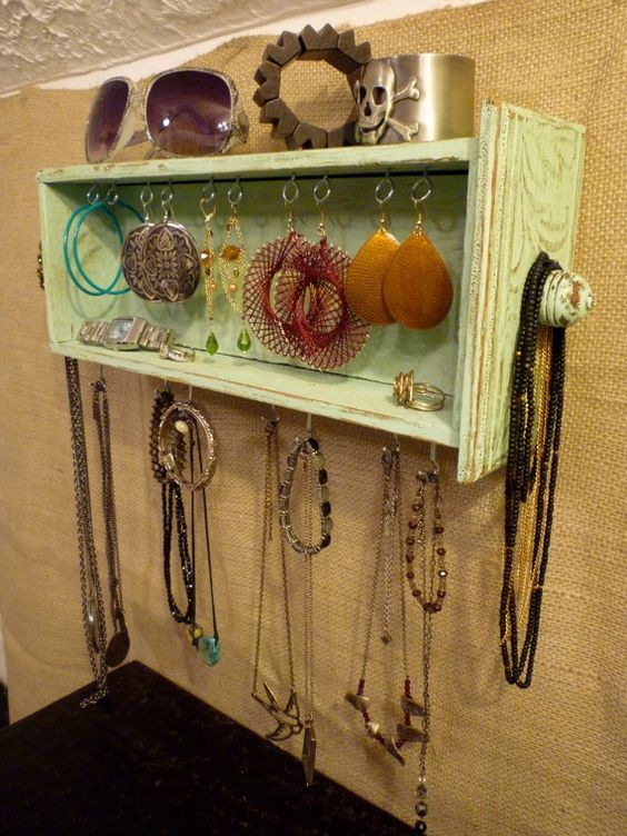 repurposed aqua jewelry shelf. -- drawer transformed into jewelry storage!: