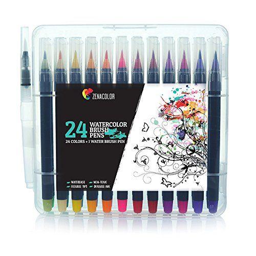 Zenacolor 24 Wasserfarben Pinselstifte Und 1 Aqua Brush Ungiftige