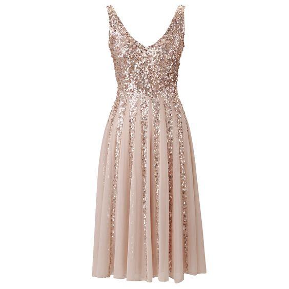 Günstige Glitzernde Rose Gold Pailletten Brautjungfer Kleid Weiß ...