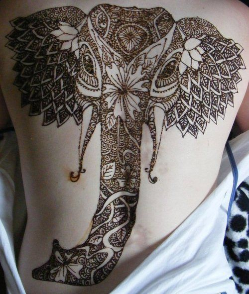 Elaborate Elephant henna tattoo