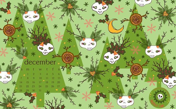 FREE skelly chic wallpaper download on my blog! Happy December! I'm also having a Cyber Monday sale; details on my blog!