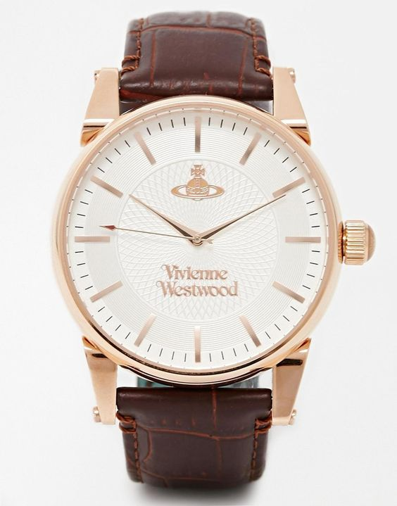 Watch by Vivienne Westwood Mock-croc leather strap Three hand movement Dash indices Branded face Pin buckle fastening 5ATM: water resistant to 50 metres (160 feet)