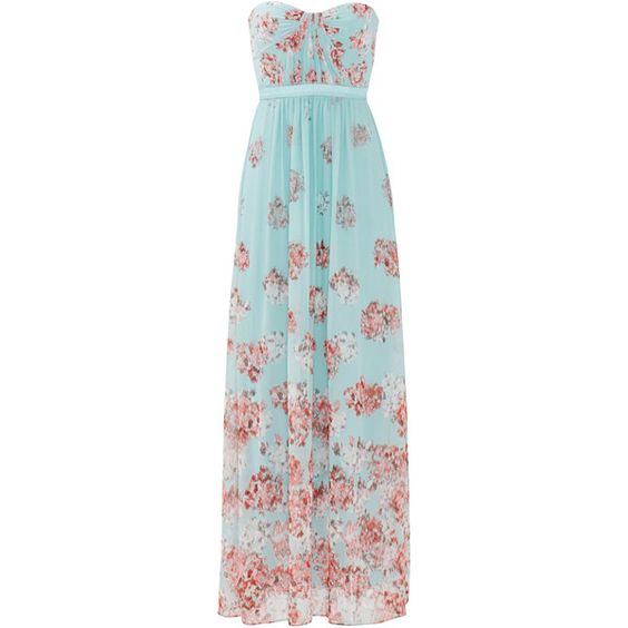 Rental BCBGMAXAZRIA Blossom Festival Gown ($75) ❤ liked on Polyvore featuring dresses, gowns, blue floral dress, floral print evening gown, floral dress, blue evening dresses and floral evening gown